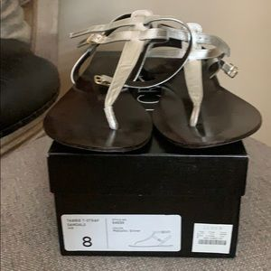 J crew silver leather sandals 8
